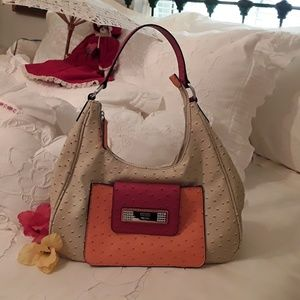 GUESS AUTHENTIC MILTON OSTRICH EMBOSSED HOBO BAG